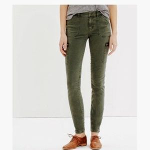 Madewell | Olive Skinny Ankle Zip Cargo Pants 26